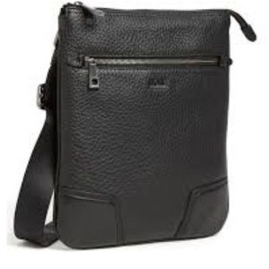 Hugo Boss Black Leather Messenger Bag |